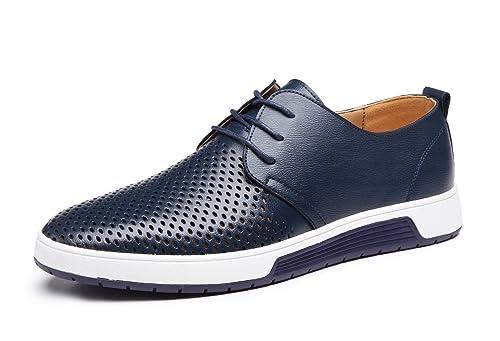10a60294 Zapatos de Cuero Hombre, Oxford con Cordones Brogue Vestir Derby Informal  Negocios Boda Calzado Respirable Negro Marrón Azul 38-48: Amazon.es: Zapatos  y ...