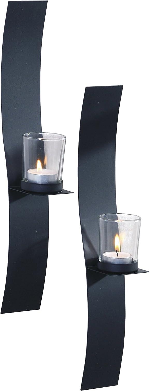 Art Maison Sleek Metal with Glass Candle Sconce, 2x15, Black, 2 Piece