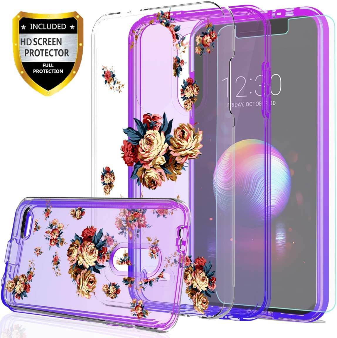 LG K30 Phone Case,LG Harmony 2/LG Phoenix Plus/Premier Pro Case for Girls,with HD Screen Protector,YmhxcY[Hard PC Back Flower and TPU Two-color gradient]Protective Cover For LG K10 2018-GC Purple/Blue