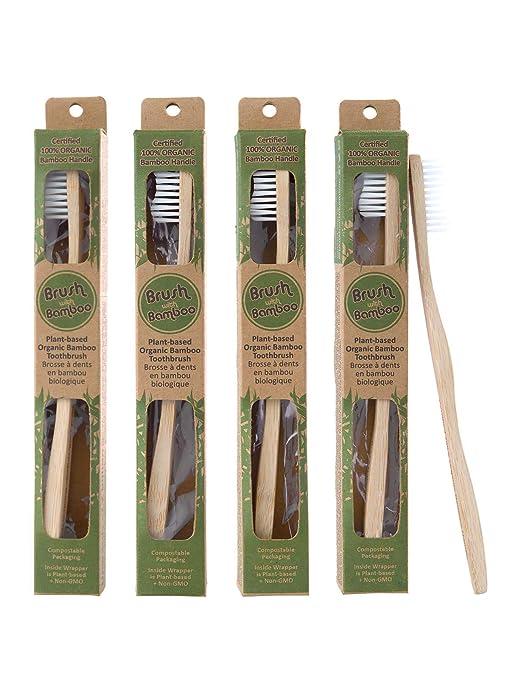 Brush with Bamboo - Cepillo de dientes de bambú, ecológico, 4 unidades