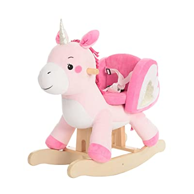 labebe - Baby Rocking Horse, Ride Unicorn, Kid Ride On Toy for 1-3 Year Old, Infant (Boy Girl) Plush Animal Rocker, Toddler/Child Stuffed Ride Toy (Pink): Toys & Games