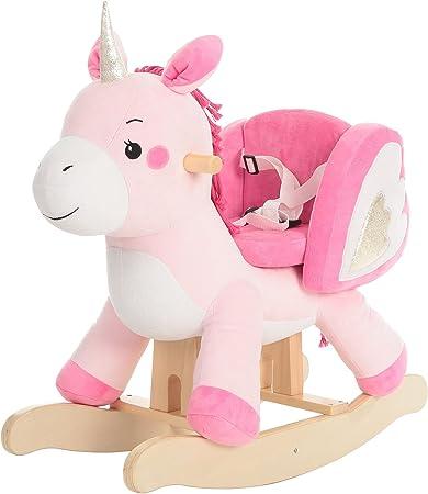 labebe Cavallo a Dondolo Legno, Inicorno Cavalcabile Bambino, Draga Cavalcabili per Bambini, Gioco Cavalcabile Bimba 1 3 Anno,Giochi Cavalcabili