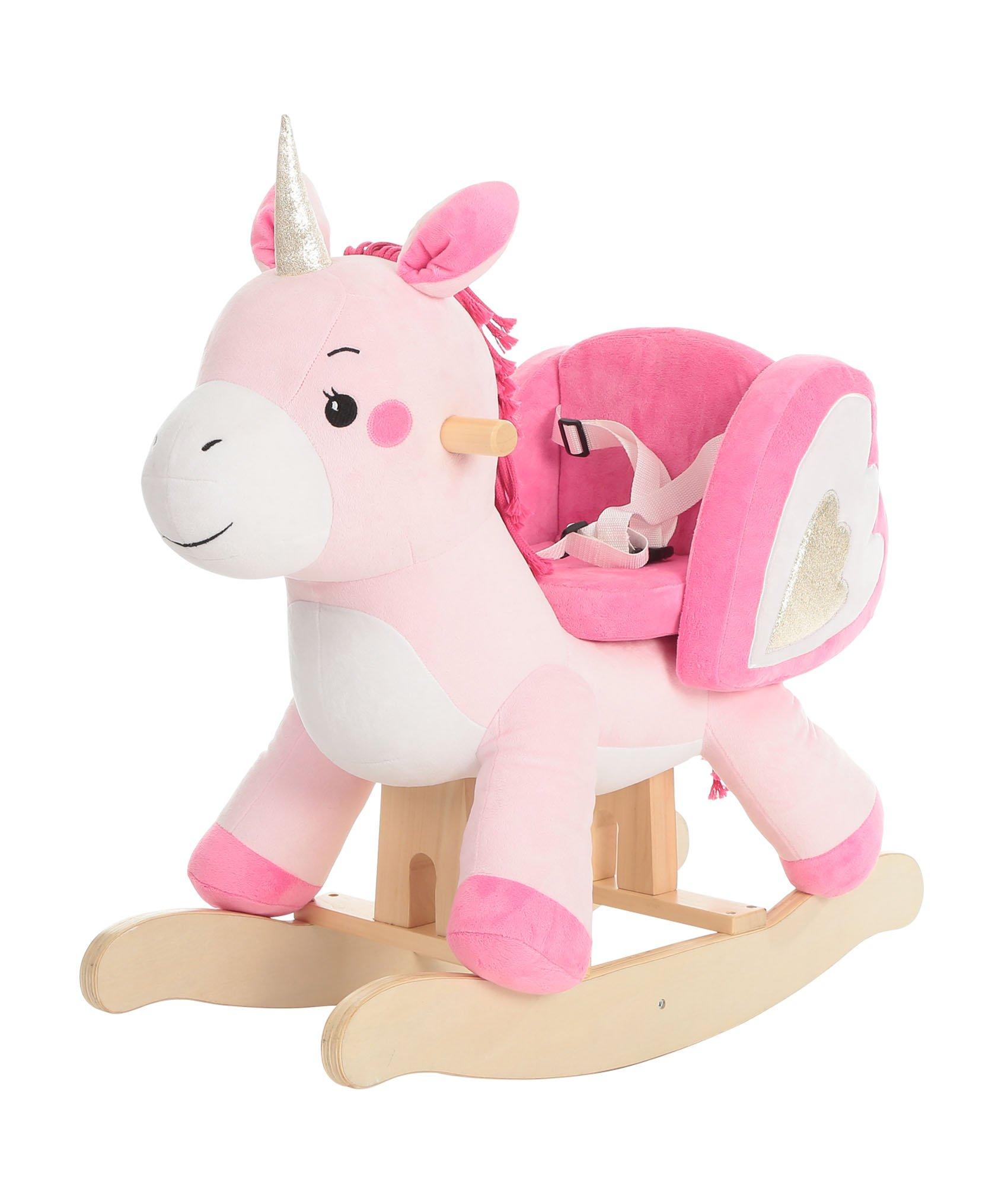 Labebe Child Rocking Horse Toy, Pink Rocking Horse Plush, Unicorn Rocker Toy for Kid 1-3 Years, Stuffed Animal Rocker Toy/Child Rocking Toy for Girl/Wooden Rocking Horse Pink/Rocker/Animal Ride on by labebe