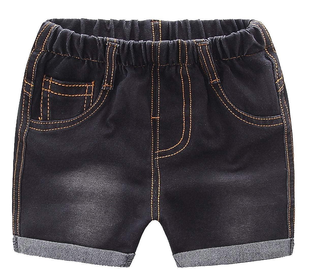 Happy Cherry Baby Unisex Denim Shorts Sommer Elastische Taille Kurze Hose Elastische Taille Jeans Shorts
