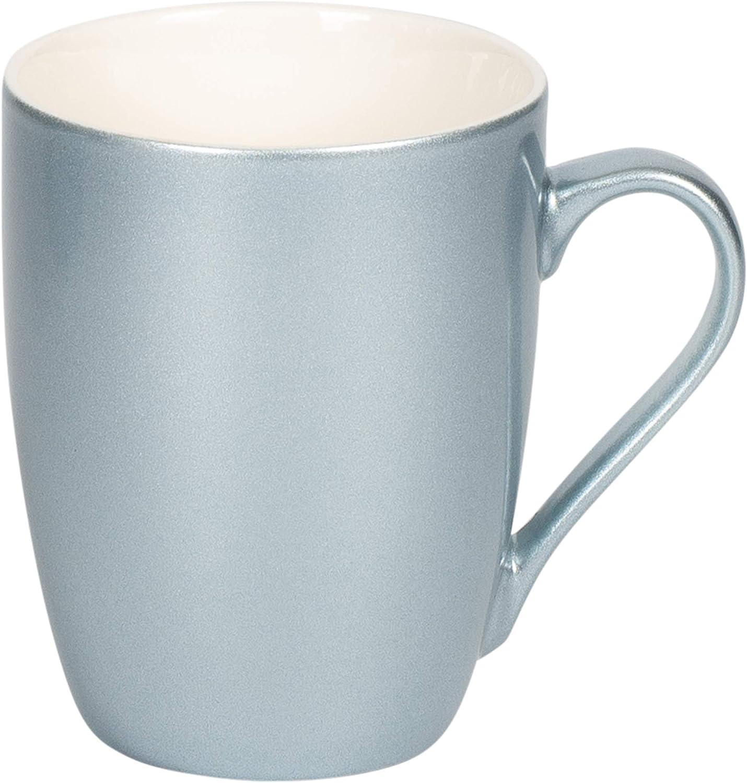 New Bone China Coffee Cup Mug Set of 4 Frosted Blue Metallic Finish 10 Oz