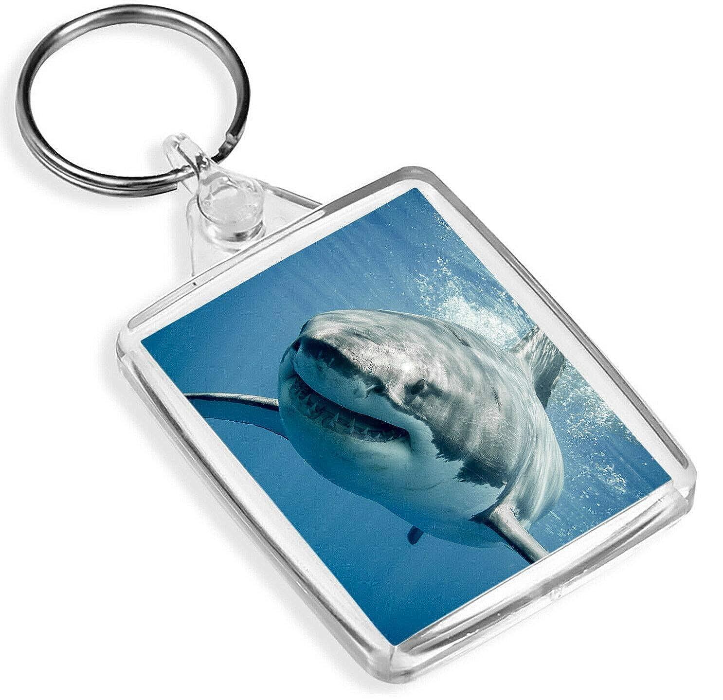 Great White Shark Keyring Sea Ocean Diver Marine Predator Fun Keyring Gift #8474