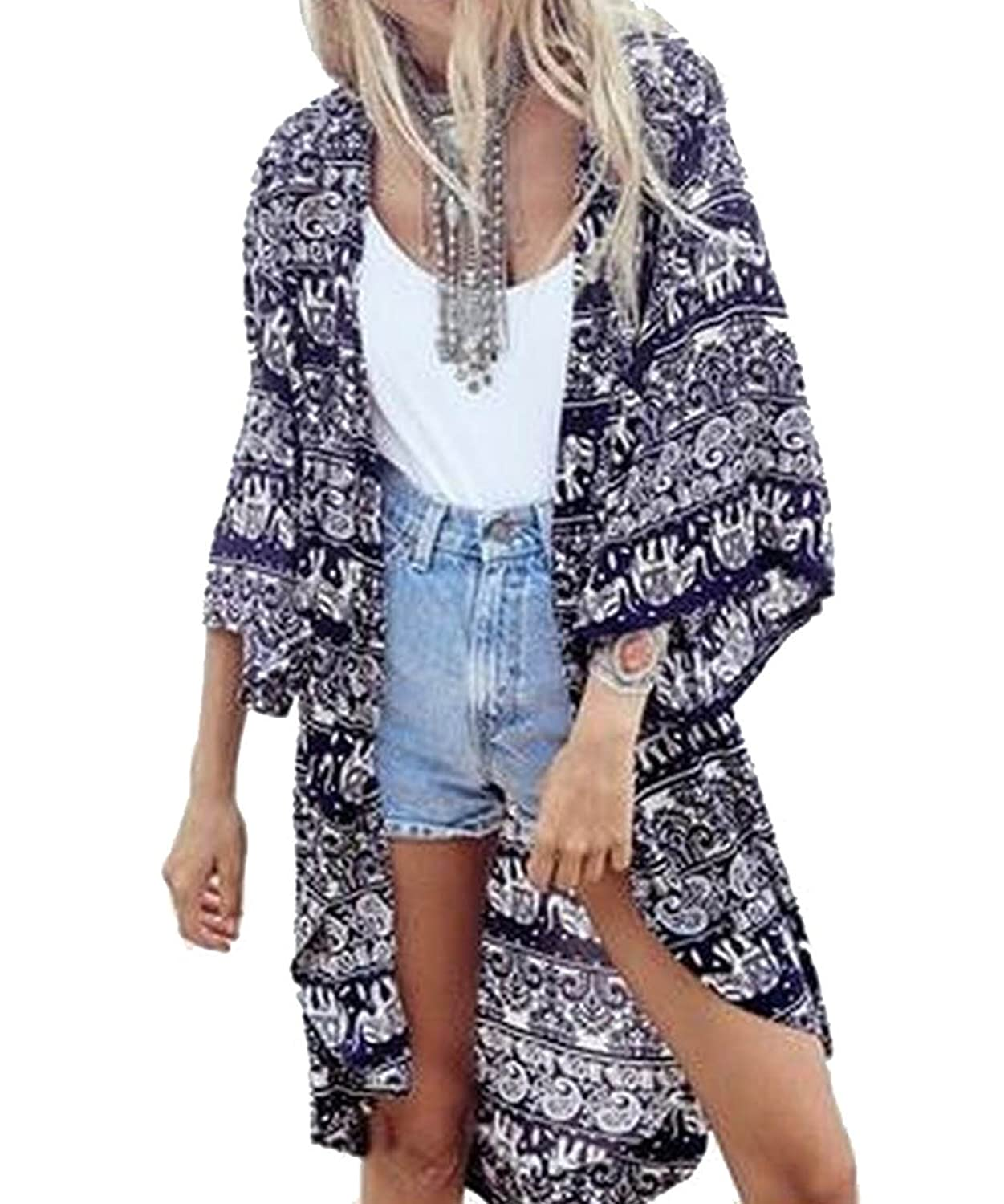 Zago Womens Baggy Front Open Printed Tops Fashion Tunic Cardigan