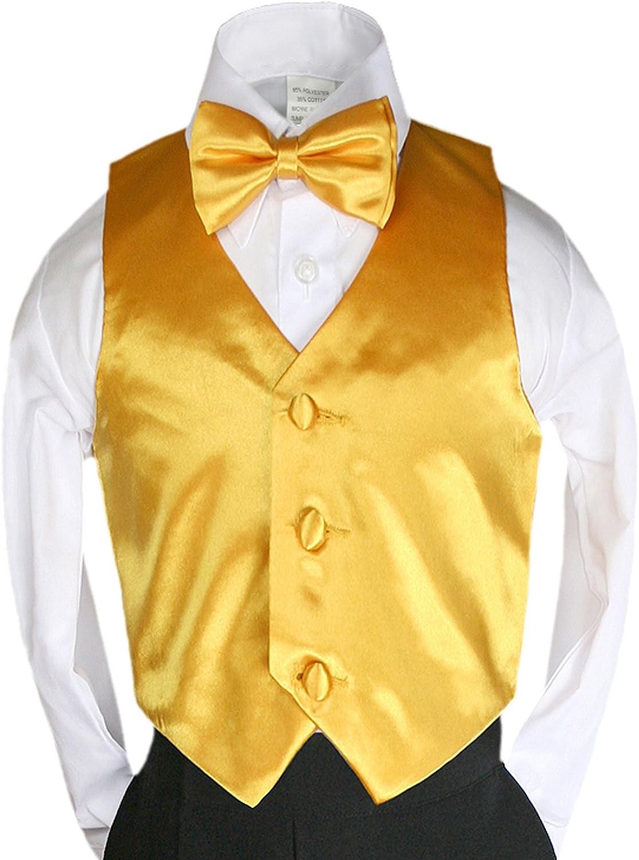 2pc Yellow Bow Tie Vest Set Boy Wedding Party Graduation Formal Suit Sm-20