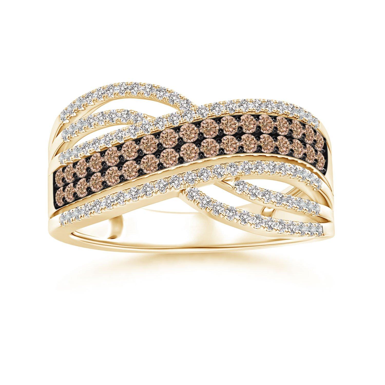Angara Brown and White Diamond Split Shank Ring with Heart Motif 0B92y3
