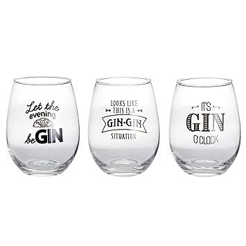 Tfh Gläserset Gin 3er Set Sprüche Lustig Glas Gläser Ginglas Gingläser