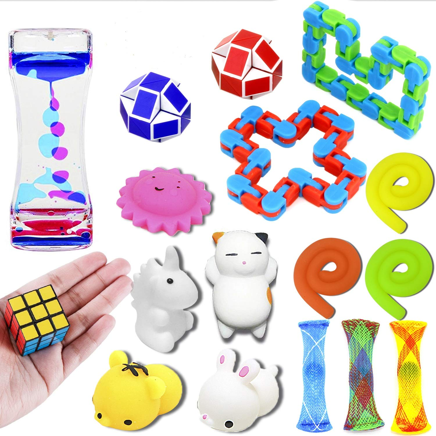 nobasco Sensory Toys Set, 17 Pack Fidget Toys Bundle Stress Relief Hand Toys Adults Kids, Stretchy String/Liquid Motion/Cube/Twist Puzzle/Mesh Marble/Mochi Squishy - Perfect ADHD ADD Anxiety Autism