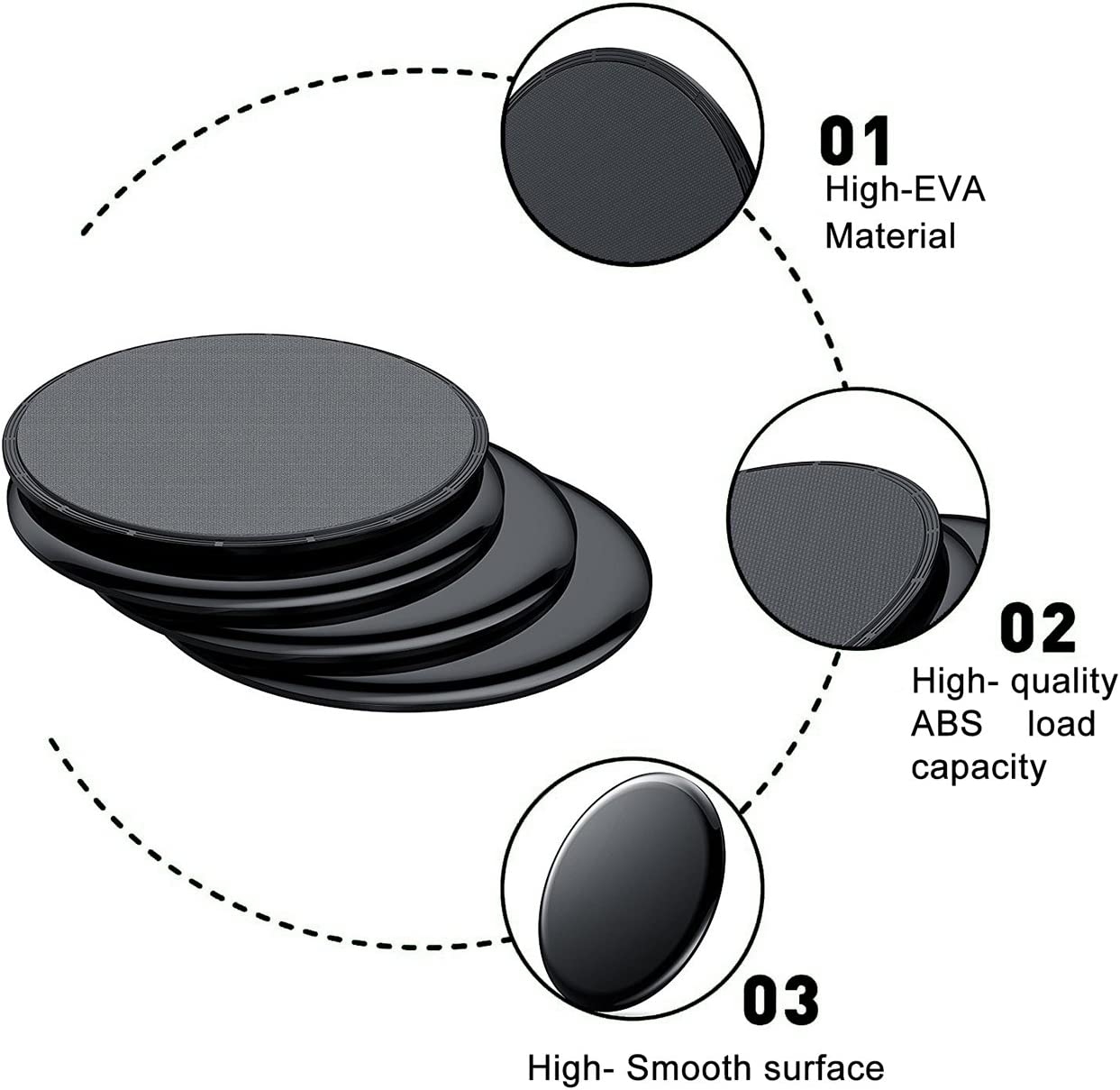 7pcs Pack Candygirl 7 Pack Exercise Sliding Gliding Discs Fitness Core Sliders Sports Resistance Loop Bands Set
