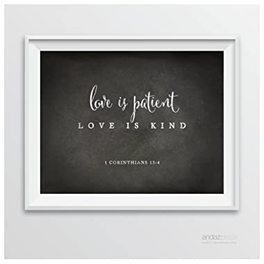 Andaz Press Biblical Wedding Signs, Vintage Chalkboard Print, 8.5-inch x 11-inch, Love is Patient, Love is Kind, 1 Corinthians 13:4, Bible Quotes, 1-Pack