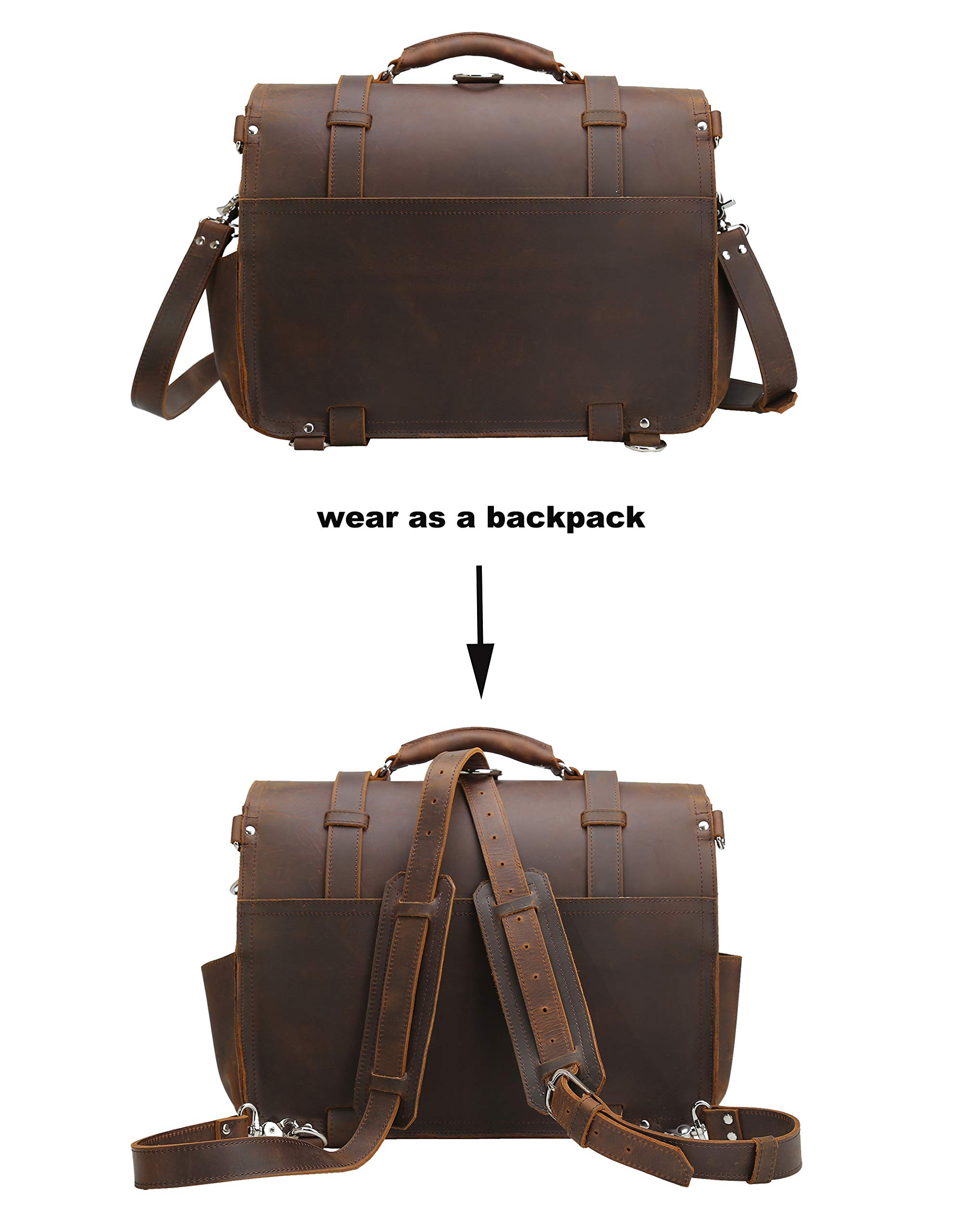 Polare Men's Full Grain Leather 16'' Laptop Briefcase Shoulder Messenger Bag by Polare (Image #3)