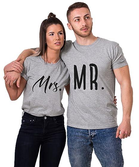 Couple Shirt Mrmrs Tee Shirt Pour Femme Homme Amoureux Tshirt Coton 2 Pièces Tops Hauts Manches Courtes Saint Valentin Cadeau Anniversaire