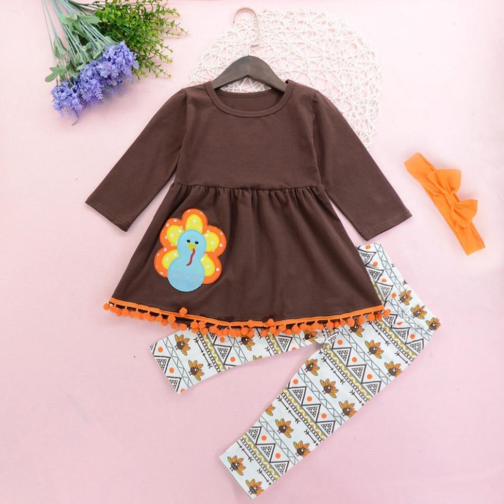 Turkey Pants+Headband Thanksgiving Outfits Clothes Winsummer Baby Kid Girl Long Sleeve Dress Shirt