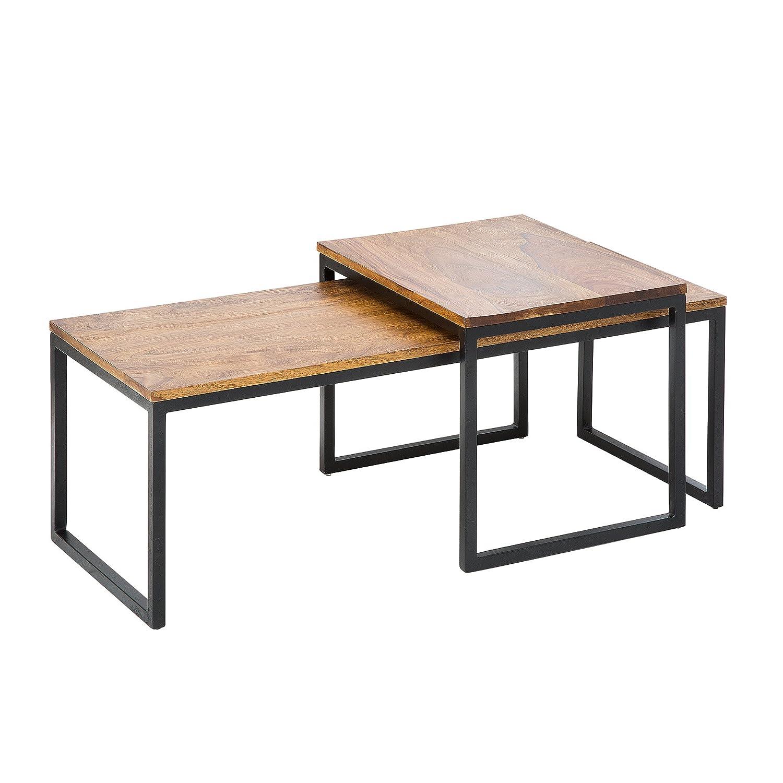 2er Set Couchtisch NOBILE 100cm Sheesham Metallgestell Beistelltische Satztische Tischset Wohnzimmertisch