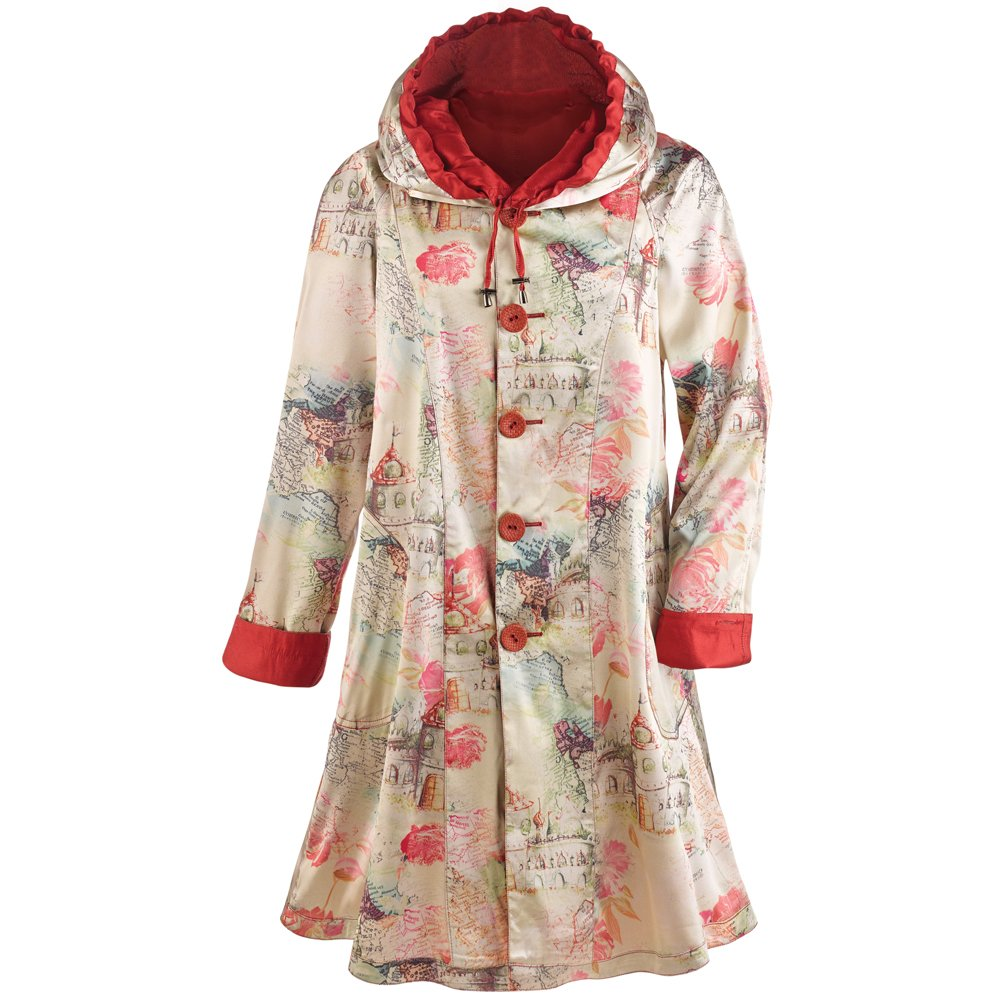 CATALOG CLASSICS Women's Lightweight Red Reversible Raincoat - Large