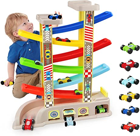 aotipol Montessori Toys for 1 2 3 Year Old Boys Toddlers, Car Ramp Toys with 6 Cars & Race Tracks, Garages and Parking Lots, Ramp Racer Toy Gift for Boys Girls Age 1-3