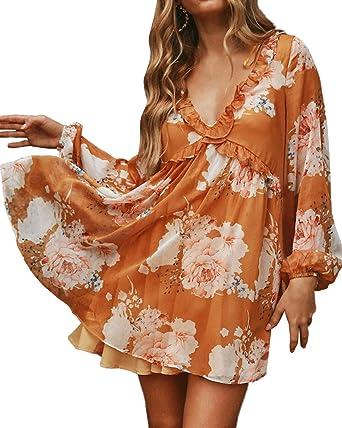 a15c1d97ecf3 Auxo Women 3/4 Sleeve Floral Maxi Dress Boho Sexy Open V Neck Tunic Short