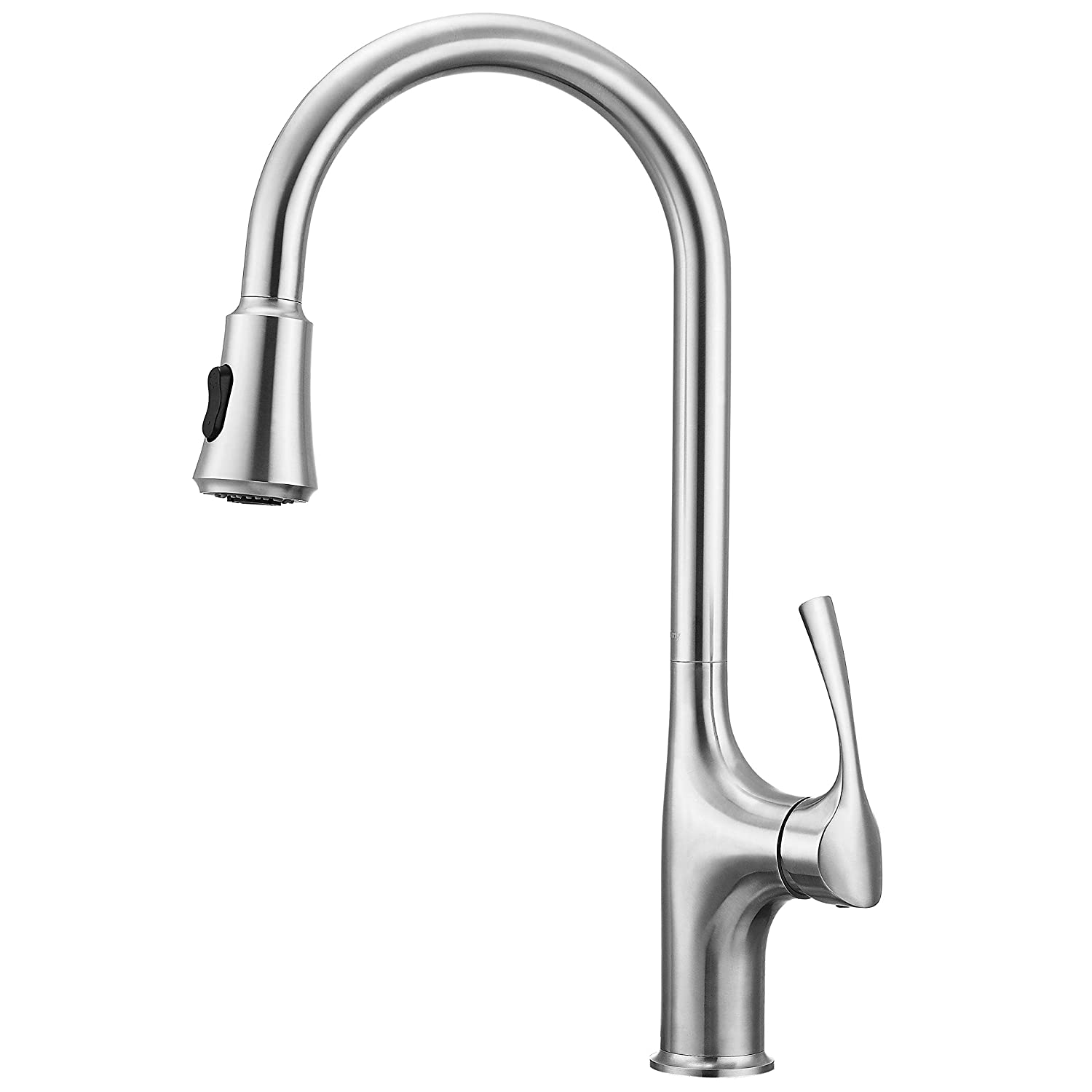 "Primy Kitchen Faucets with Pull Down Sprayer Modern Heavy Duty Lead-Free Single Handle High-Arc Kitchen Sink Faucet With Deck Plate, Height 19-13/32"", Solid Spot Resist Stainless Steel"