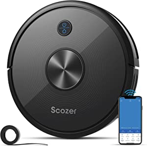 Robot Vacuum, SCOZER Self-Charging Robotic Vacuum Cleaner, 2200Pa Super-Strong Suction, Wi-Fi & Alexa Control, Boundary Strips, Multiple Cleaning Modes Vacuum Best for Pet Hair Carpets Hard Floor