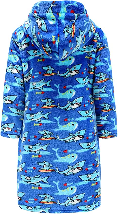 HeroHarold Toddler Baby Flannel Bathing Bathrobe Newborn Boys Girls Cartoon Animal Hoodie Long Sleeve Bath Towel