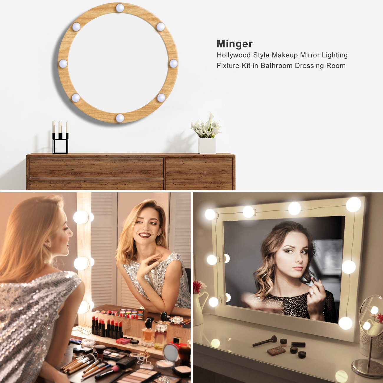 Minger Hollywood Style Vanity Mirror Lights 8 Dimmable Led Light Lighting Diagram Bulbs Kit Fixture Strip For Makeup In Bathroom Dressing Room Not