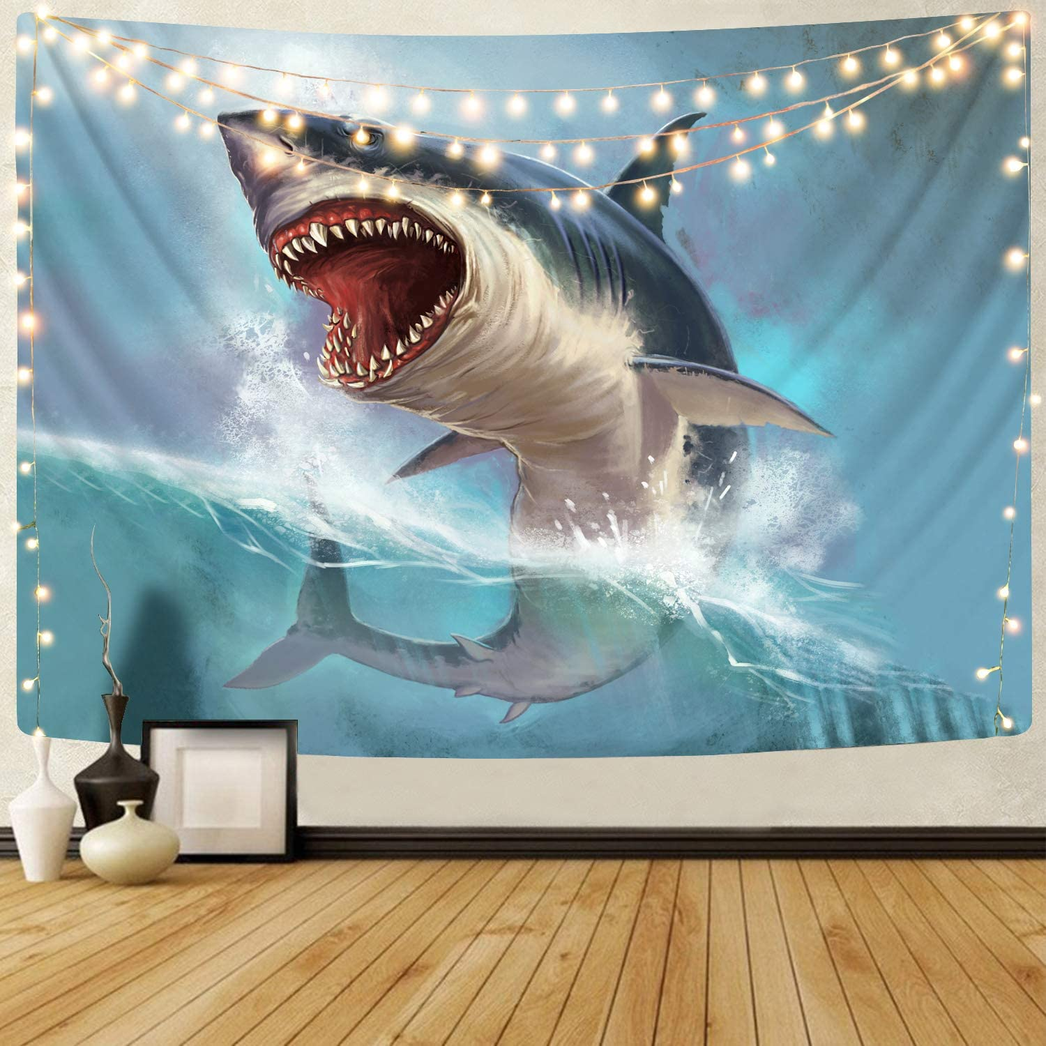 Sportbull Fish Tapestry for Bedroom, Ocean 3D Printed Big White Shark Tapestries Wall Hanging for Living Room Dorm Decor Family Party Decorative (51.2H x 59.1W,Blue)