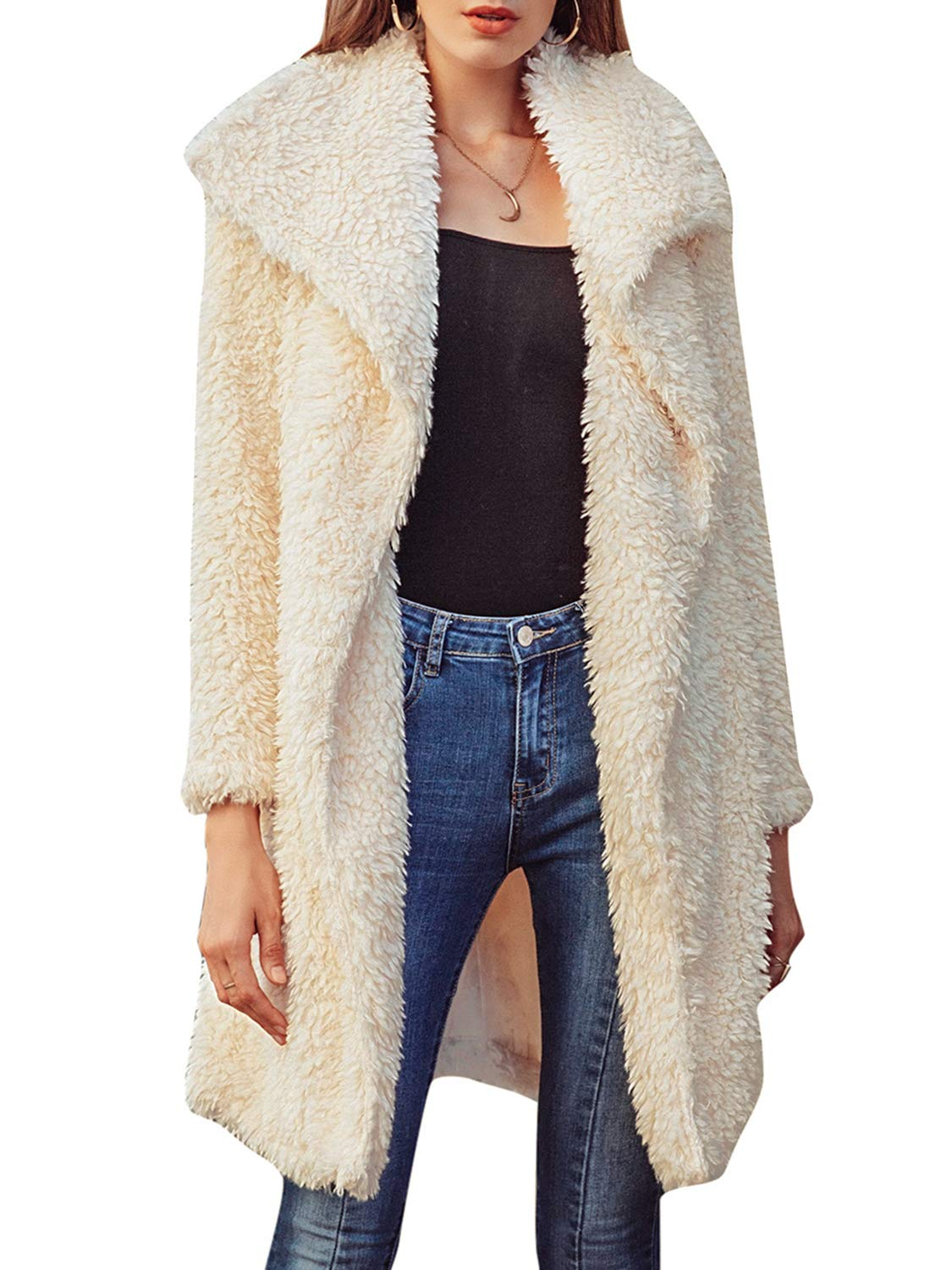 BerryGo Women's Casual Faux Fur Long Coat Lapel Shaggy Open Front Jackets Apricot,M