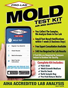 ProLab Mold Test Kit For Home For Air And Surface Testing - Mold Test Kit Includes Expert Consultation, Pre-Paid Return Mailer, Emailed Mold Report $40 Fee Required For AIHA Lab Analysis. (MO109)