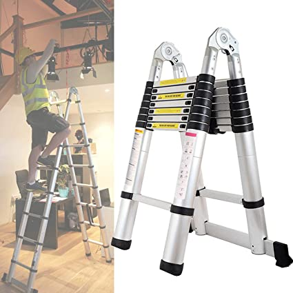 Bowose Escalera telescópica de 5 m con extensión en Forma de A y telescópica de Aluminio, 16 peldaños para el hogar Loft Office EN131 con certificación de Carga de 150 kg: Amazon.es: