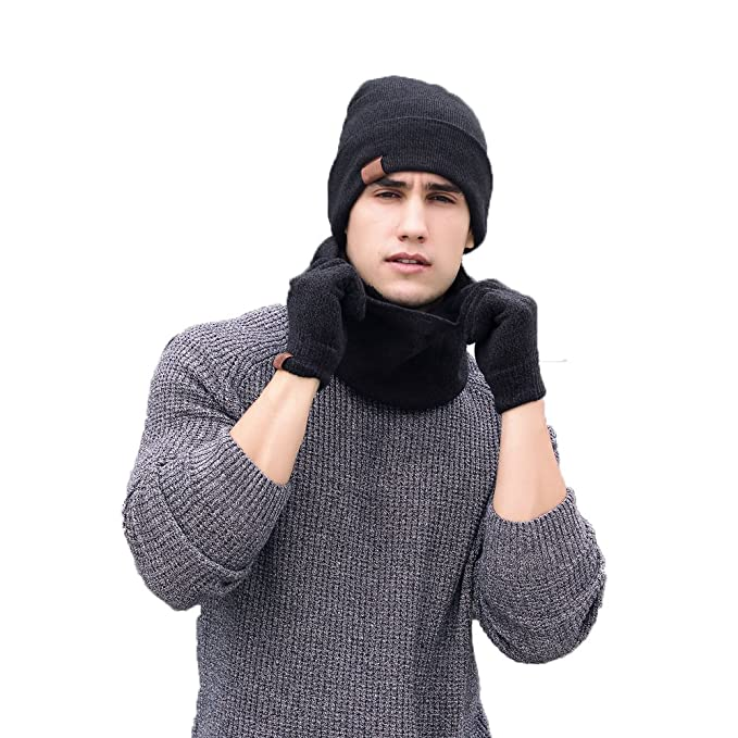 a47a09b9f K-mover Winter Woolen Warm Knit Hat/Scarf/Gloves Three-piece set for Men  and Women