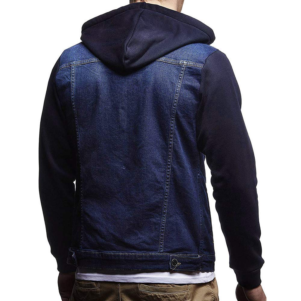 HHei_K Mens Casual Vintage Distressed Hooded Demin Jacket Slim Fit Button up Pocket Drawstring Hoodie Tops Coat by HHei_K (Image #3)