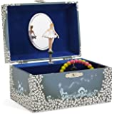 (Blue and White Star) - JewelKeeper Girl's Musical Jewellery Storage Box with Twirling Fairy Blue and White Star Design, Swan Lake Tune