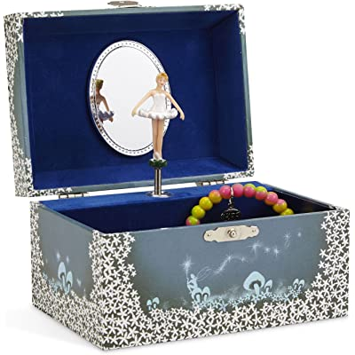 Jewelkeeper - Caja de Música para Joyas, con Hada Estrellada Azul y Blanca - Melodía del Lago de los Cisnes