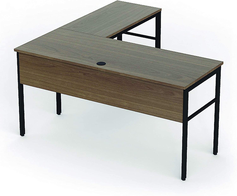 "Linea Italia Urban L-Shaped Corner Home Office Easy to Assemble Modern Metal Computer Desk, Wood Top & Black Steel Frame, 60"" x 60"", Walnut"