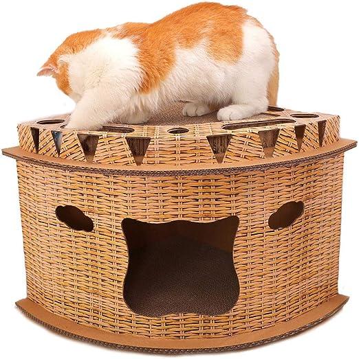 DCRYWRX Gato de la casa, Forma De Ventilador De La Tienda De Campaña De La Bola del Juguete, 2 Capas, Rincón De La Arena para Gatos, Rascar La Placa del Gato: Amazon.es: