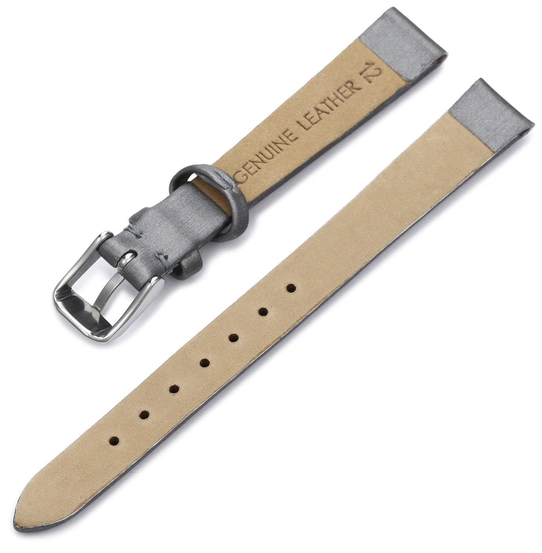 e4c72fd98a0 Amazon.com  Hadley-Roma Women s LSL978RW 140 14-mm Silver Satin Grained  Leather Watch Strap  Hadley Roma  Watches