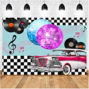 Back to 50's Sock Hop Theme Photography Backdrops 7x5ft Vinyl 1950s Retro Diner Time Rock Roll Classic Decor Crazy Vintage Dance Prom Photo Background Dessert Cake Table Decor Supplies