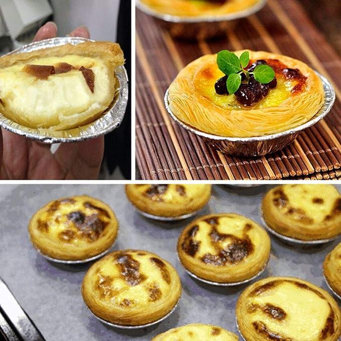 BESTONZON 500 UNIDS Desechable Papel de Aluminio Muffin Cupcake Molde de Huevo Redondo Tarta de Moldes para Hornear Herramienta: Amazon.es: Hogar