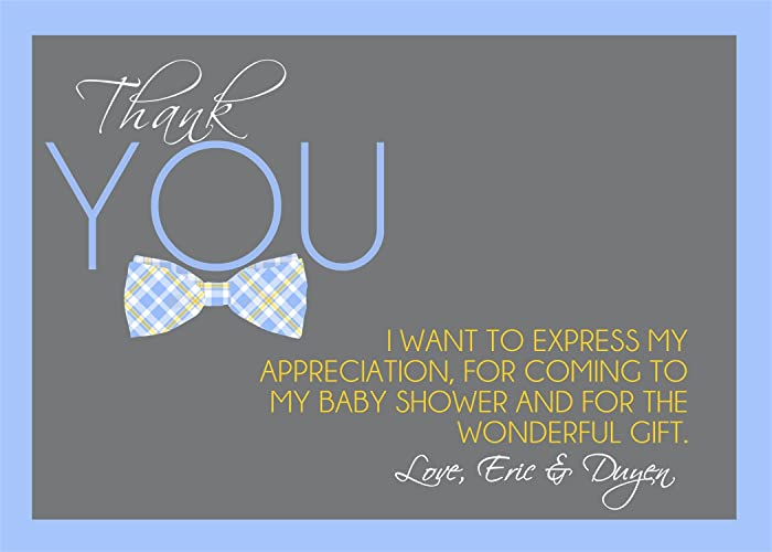 Amazon Com Personalized Little Man Bow Tie Baby Shower Thank You