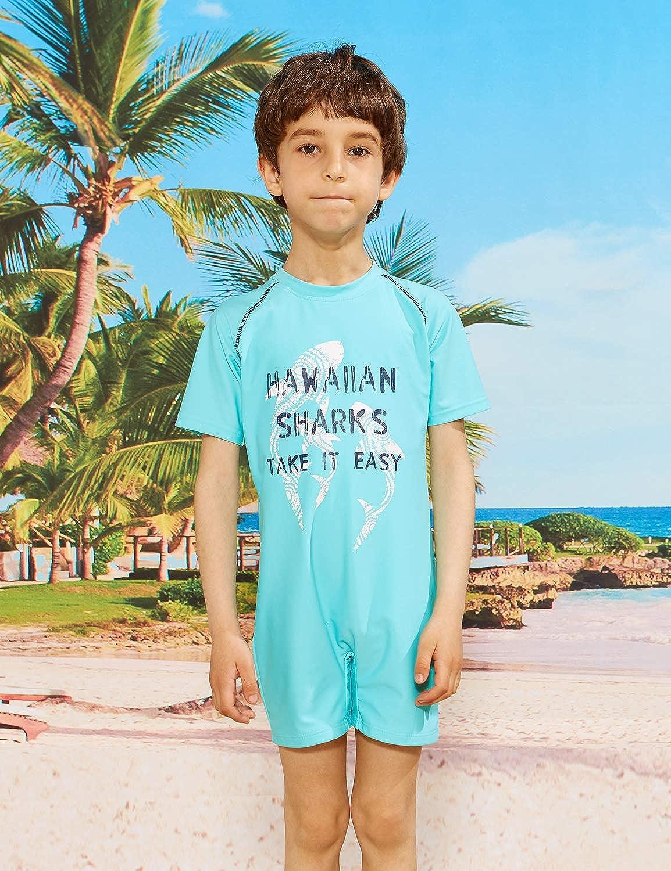 PHIBEE Boys One Piece Rash Guard Swimsuit Short Sleeve UPF 50 Sun Protection Bathing Suits