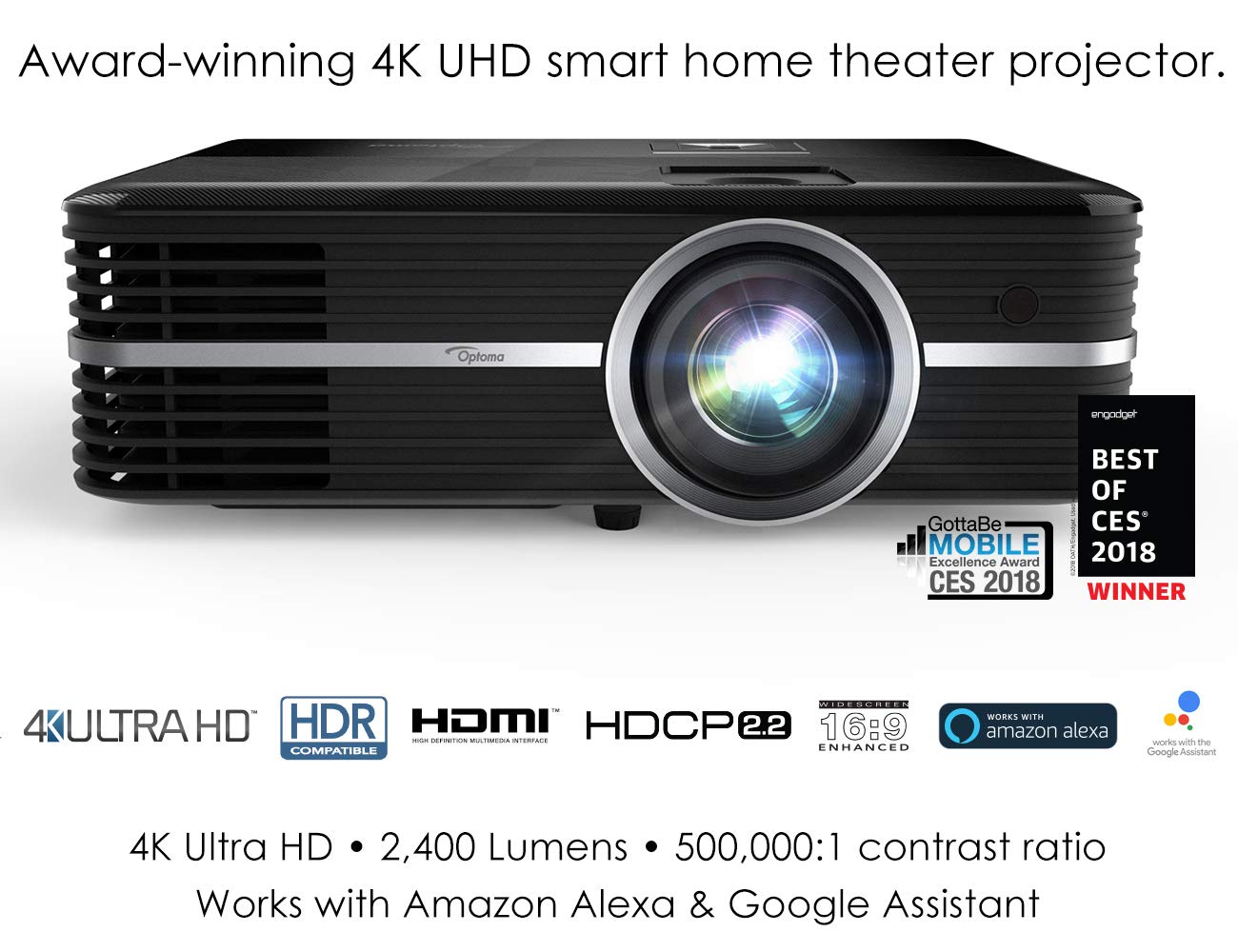 Optoma UHD51A True 4K UHD Smart Projector | Bright 2,400 Lumens | HDR10 |  Works with Alexa and Google Assistant | Voice Command to Activate Projector