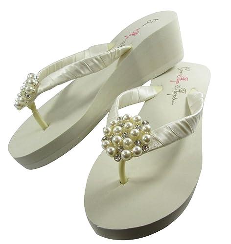 97f3f54bf Amazon.com  Ivory 2 Inch Pearl Embellishment Bridal Flip Flops  Handmade