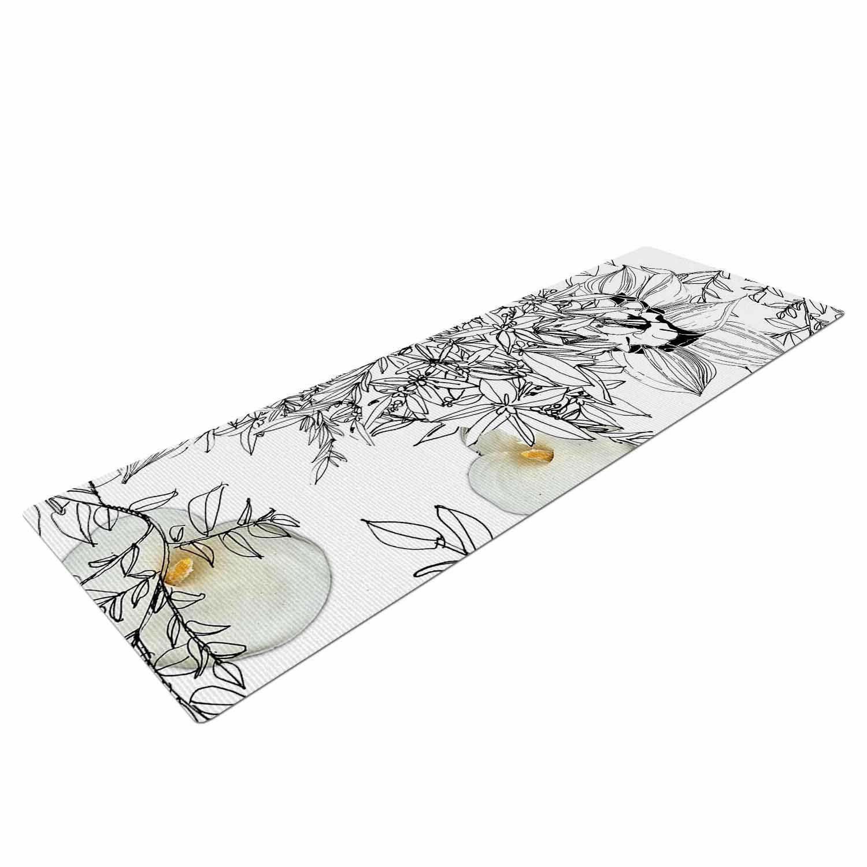 KESS InHouse Danii Pollehn Finebuqet Black White Yoga Mat 72 X 24