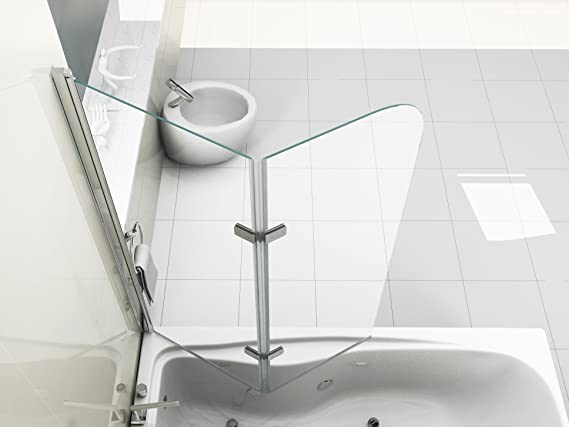 HNNHOME - Pantalla Plegable de Vidrio de 6mm para Ducha con Panel de Pivote Giratorio en 180° - Pequeño: Amazon.es: Hogar