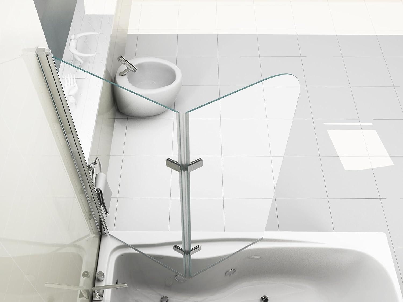 Vasca Da Bagno 180 100 : Hnnhome pannello vasca da bagno doccia singolo in vetro 6mm girevole