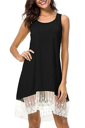 Lananas 2018 Women Summer Sleeveless White Lace Hem Patchwork Slim Fit Mini Short Black