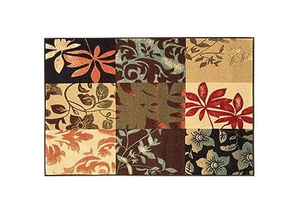 Superbe Kapaqua Rubber Backed Mat 18u0026quot; X 32u0026quot; Italian Floral Panel Boxes  Brown Multicolor Doormat